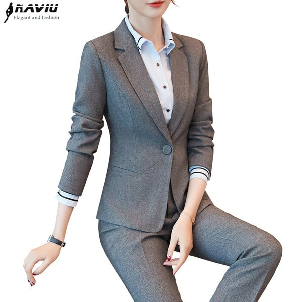 2018 New Fashion women pant suits formal Business Slim blazer and Trouser office ladies plus size work wear gray black