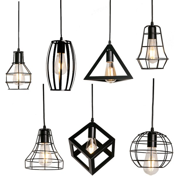 Factory Wholesale bird light lamparas de techo colgante Modern black pendant lights cage loft industrial pendant lights iron minimalist