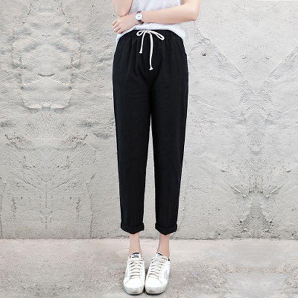 New Women Casual Harajuku Autumn Big Size Long Trousers Solid Elastic Waist Cotton Linen Pants Ankle Length Haren Pants