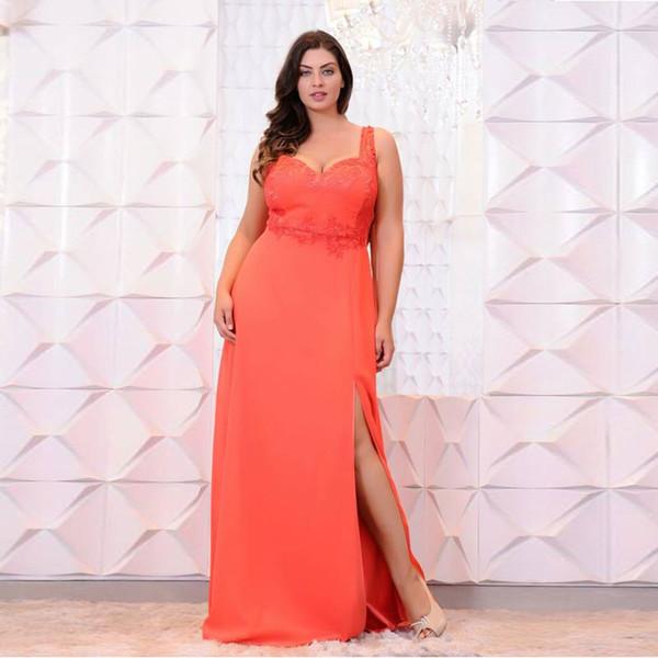 Orange Lace Appliqued Plus Size Prom Dresses Sweetheart Neck Side Split  Evening Gowns A Line Cheap Satin Floor Length Formal Dress Clothing Shop  Cute ...
