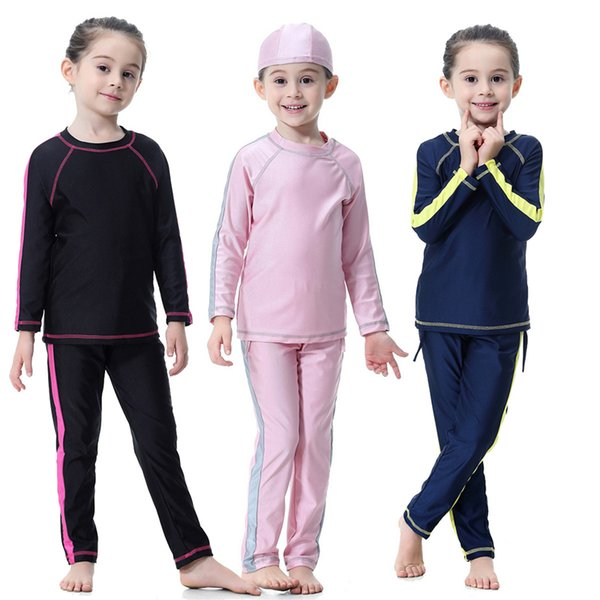 Fashion Patchwork Islamic Highly Elastic Swimwear Little Girls Muslim Sets Long Sleeve Modest Islamic Swimsuits For Children Swimming