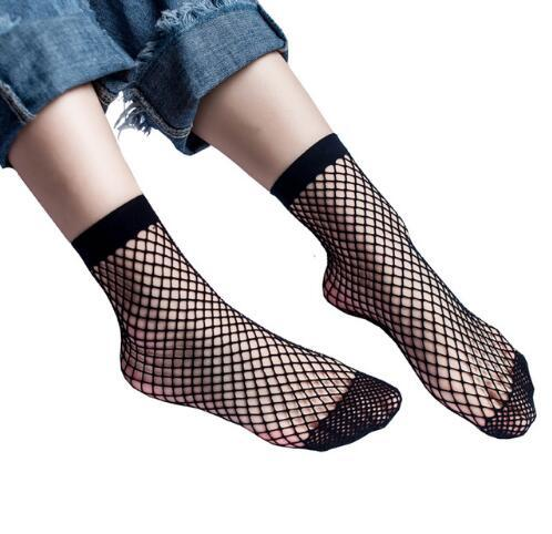 Hot Sale Black White Sexy Look Through Wild Fishnet Hollow Mid Calf Fashion Short Socks Women's Clothing Accessories