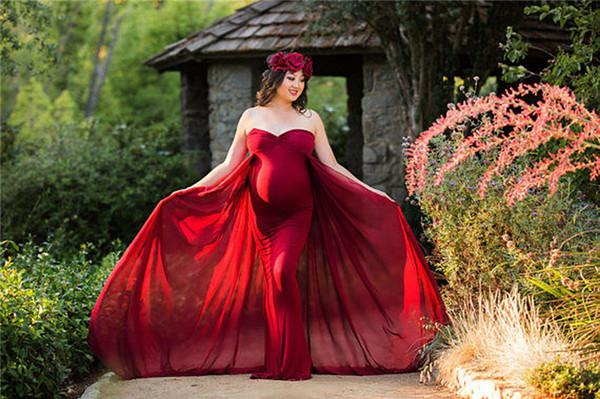 Mulheres Gravidez Vestido Para A Fotografia de Tiro Sexy Fora Do Ombro Maxi Maternidade Vestido de Chiffon Vestidos de Maternidade Fotografia Adereços