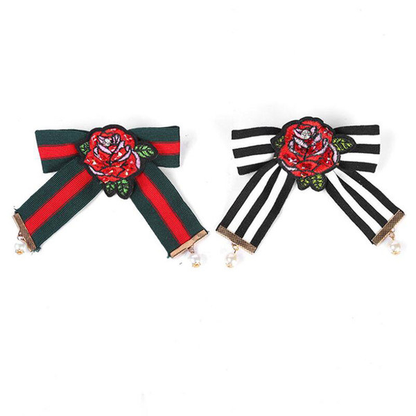 Pin Brooch Jewelry Fashion Embroidery Flower Striped Ribbon Manual Bow Brooch With Pearl For Women Clothing Accessories