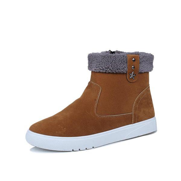 Winter Boots Men Warm Shoes 2018 Ankle Snow Boots Top Fashion Western Cowboy Boots Casual With Short Plush Zipper Rivet Mens Shoes