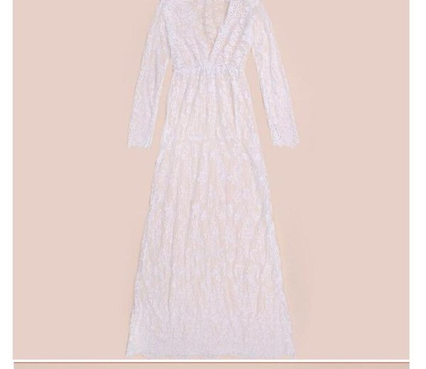 Summer European Style Sexy Lace Embroidery Maxi Solid Women Dresses Long Sleeve Deep V Neck ladies clothes Plus Size S-4XL free shipping