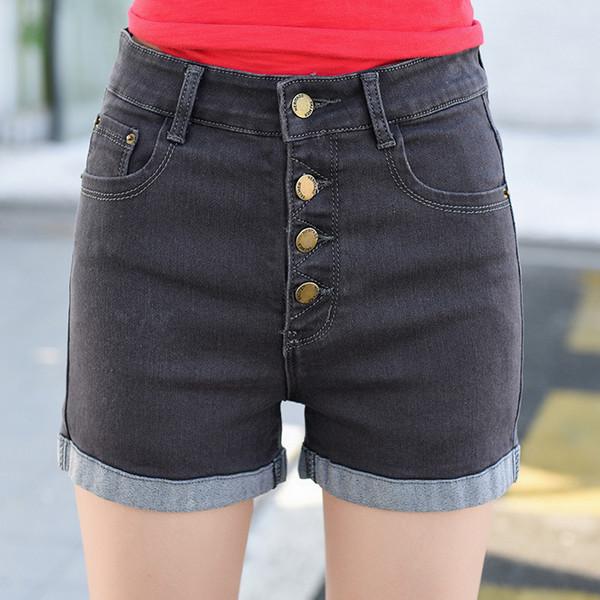 2018 Woman 4 Buttons Elastic High Waist Shorts Fashion Feminino Denim Short For Women Loose Cuffs Straight Blue Jeans Plus Size
