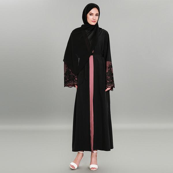 Nouvelle arrivée Front Open musulman dernier design femmes gros noir dubai nouveau modèle kimono abaya