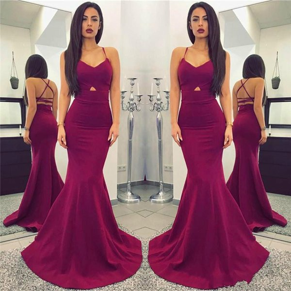 2018 New Cheap Simple Sexy Spaghetti Straps Plum Long Mermaid Prom Dresses Backless Floor Length Evening Dresses vestidos de fiesta