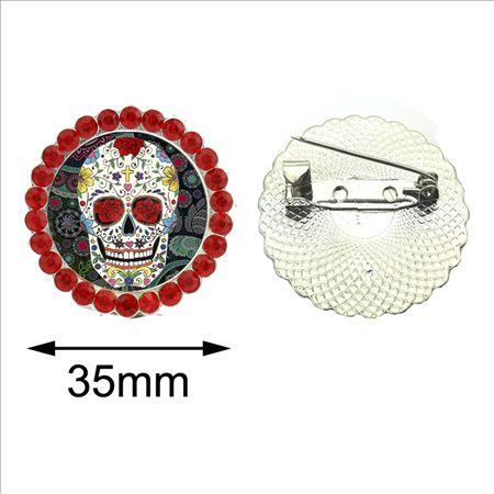 Skull Brooch Pins for Man Round Suger Skull Glass Brooch Jewelry New Fashion Day of the Dead Crystal Brooch Vintage
