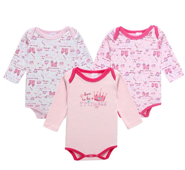 Fashion Cotton 3 PCS/lot Newborn Bodysuits Unisex Long Sleeve Jumpsuit O-neck Rompers Baby Clothes