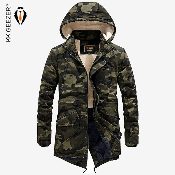 Men Jacket Winter Parka Camouflage Thick Warm Long Army Bomber Cotton-Padded 2018 New Casual Coat High Quality Hood