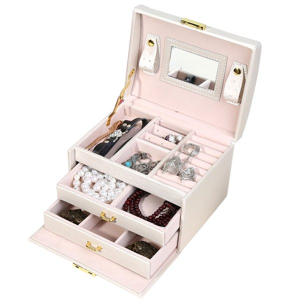 New Jewelry Storage Boxes Leather Packaging Box For Exquisite Makeup Case Jewelry Watch Organizer Container Birthday Gift