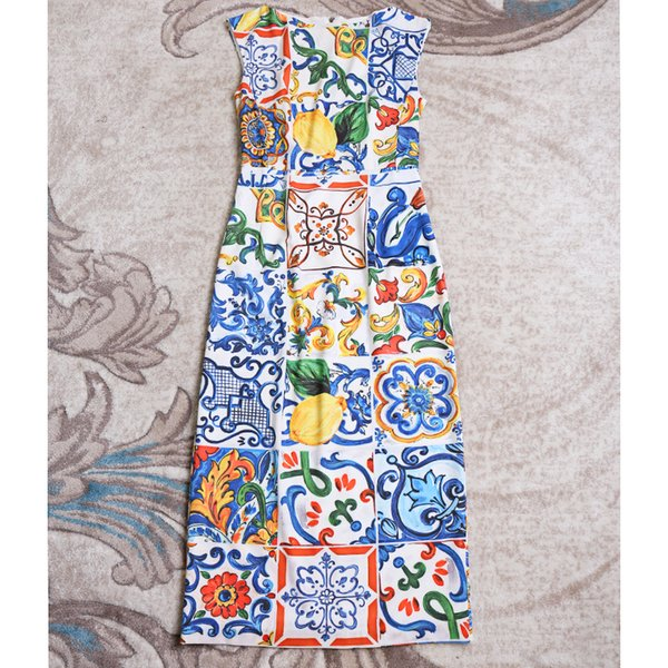 9f6ea798203e4 2018 Women Fashion Elegant Sheath Sexy Dress Sicily Blue Porcelain Tile  Patterns Print Mid Calf Dresses New 2019 Spring From Qualityclothes, $81.18    ...