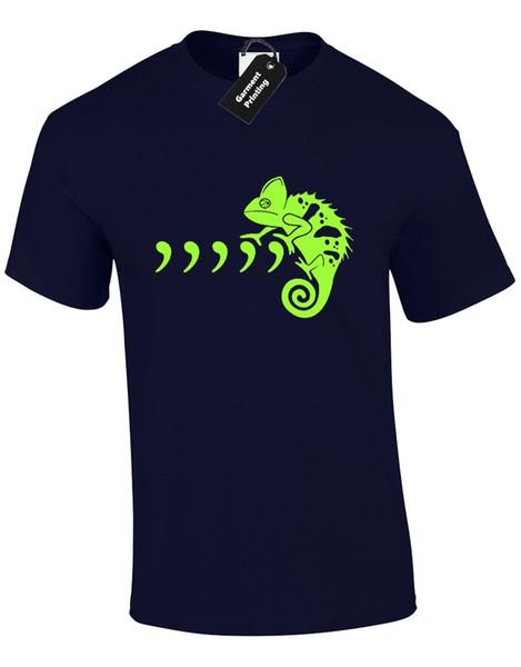 Virgule Caméléon Hommes T Shirt Parodie Parodie Spoof Musique Lézard Grammar Pun Garçon George Nouveau T-shirts Drôle Tops Tee Tops Coton