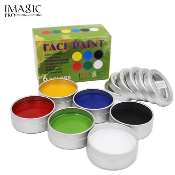 IMAGIC Face Paint Body Painting Palette 6 Colors Set Flash Tattoo Party Halloween Makeup Temporary Tattoos Pigment Art Make Up Kit Tool