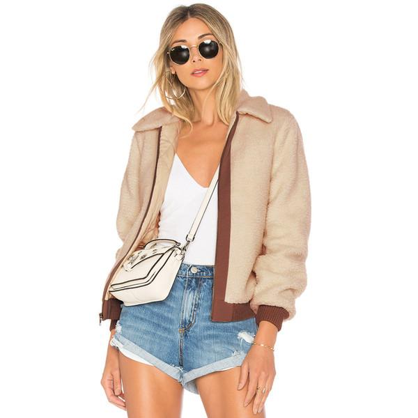 Winter Women's Jacket Fashion New Contrast Color Long Sleeve Zipper Lapel Winter Women Plus Velvet Cardigan Casual Women Jacket