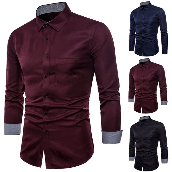 2018 Fashion New Arrival Mens Long Sleeve Oxford High Quality Formal Casual Suits Slim Fit Tee Dress Shirts Blouse Top