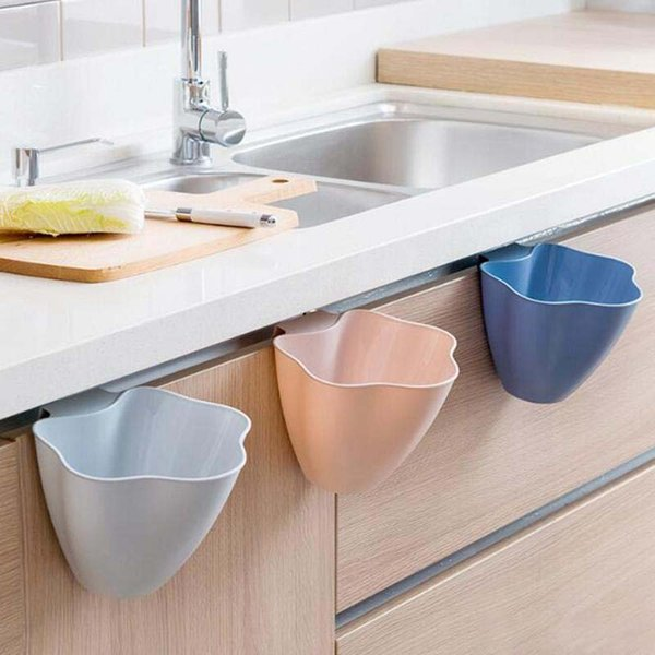 Kitchen cabinets door-mounted trash cans home creative plastic-covered plastic bucket bedroom mini garbage trash free shipping