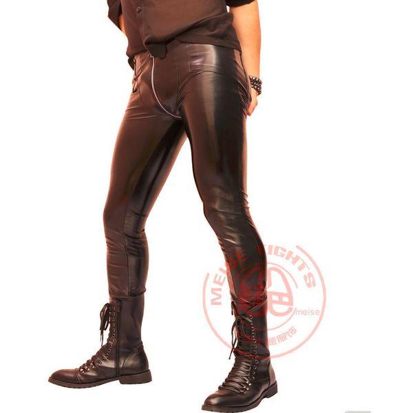 Da uomo Plus Size aderente PVC lucido pantaloni a matita stretto in ecopelle lucida Borsa da polso Gambe Pantaloni erotici Lingerie Gay Wear Q75