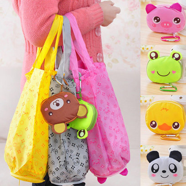 Big cabeça dos desenhos animados dobrável saco de compras Eco Viagens Dobráveis Bolsas de Supermercado Tote Armazenamento Reutilizáveis Animal Sacos de Compras 5 Estilos