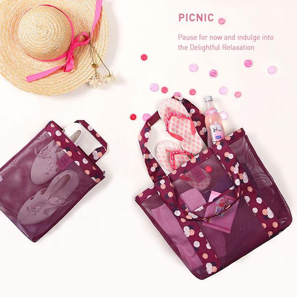 Belüftung Mesh Bag Lady Classic Nylon Net Tuch Handtasche Schwarz Single Shoulder Shopping Strand Paket Make-up Aufbewahrungskoffer 7ym bb
