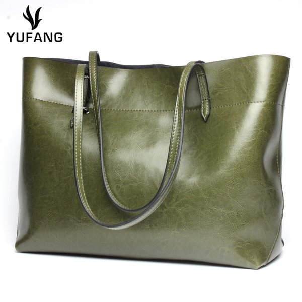 YUFANG Women Handbags Genuine Leather Ladies Shoulder Tote Fashion All-match Shopping Bag For Womens Large Capacity Travel Bag