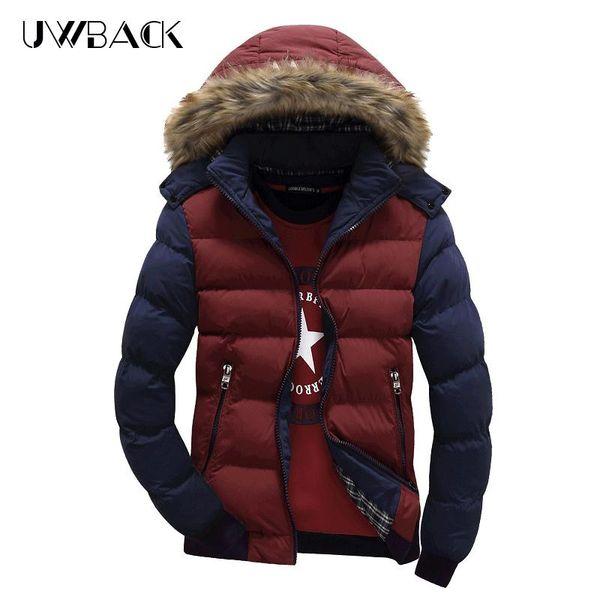 Uwback новый бренд одежды толстые пуховики мужчины меховой воротник зимние теплые пальто 2017 Зима лоскутное молния S-4XL верхняя одежда XA285