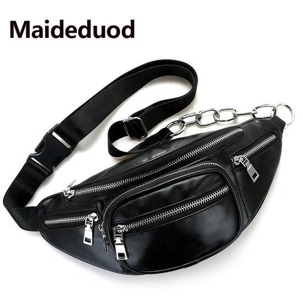 Fashion Women Waist Bag Casual Pu Leather Chain Bananka Bag Zipper Chest Waist Bags Travel Chest Bag Fanny Waist Pack Black 703