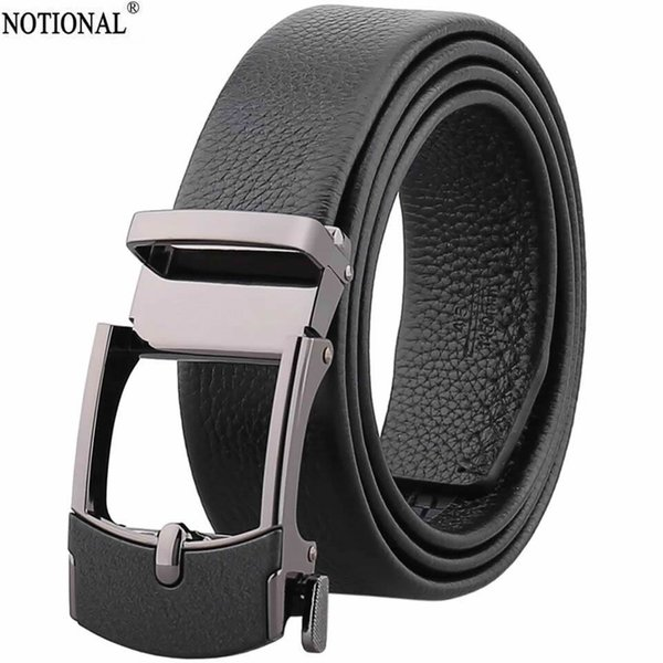 NOTIONAL Leather belt men male genuine leather Automatic Buckle Fashion Designer High Quality Mens belts luxury black NX2244