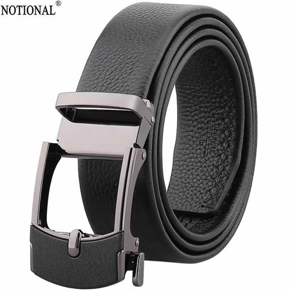 NOTIONAL Leather belt men male genuine leather Automatic Buckle Fashion Designer High Quality Mens belts  black NX2244
