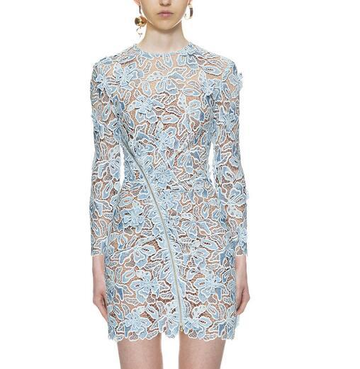 New runway design women's gauze patchwork perspective lace hollow out floral long sleeve bodycon tunic short dress zipper vestidos