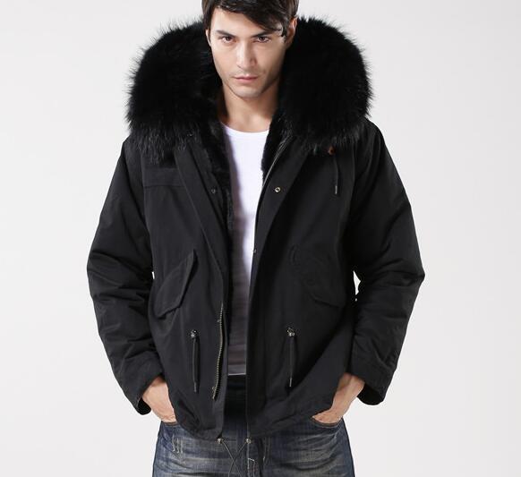 2018 Recubrimiento de piel de mapache negro marca Meifeng forro de piel de conejo negro lienzo negro mini parkas hombres abrigos para la nieve al aire libre