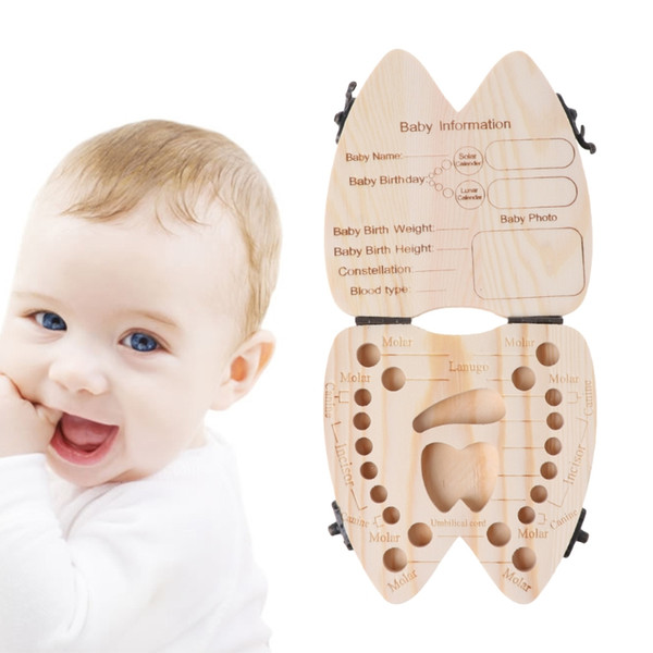 Baby Infant Tooth Box Wooden Milk Teeth Organizer Storage Boys Girls Save Souvenir Case With Placenta Collection Box For Baby Gift
