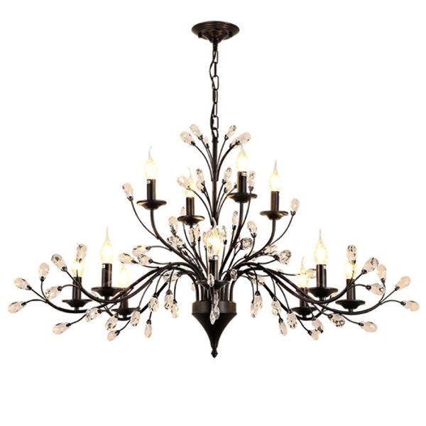 LED pendant chandeliers K9 crystal chandeliers European American retro led pendant chandelier living room study room bedroom hotel