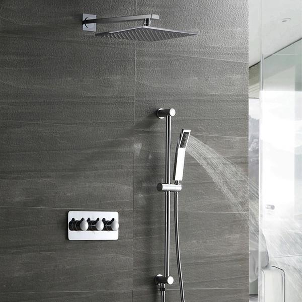Sistema de ducha montado en la pared del cromo del cuarto de baño Cabeza de ducha cuadrada de la precipitación 300m m Sistema de grifo caliente de la ducha del latón en frío Grifos del mezclador del baño