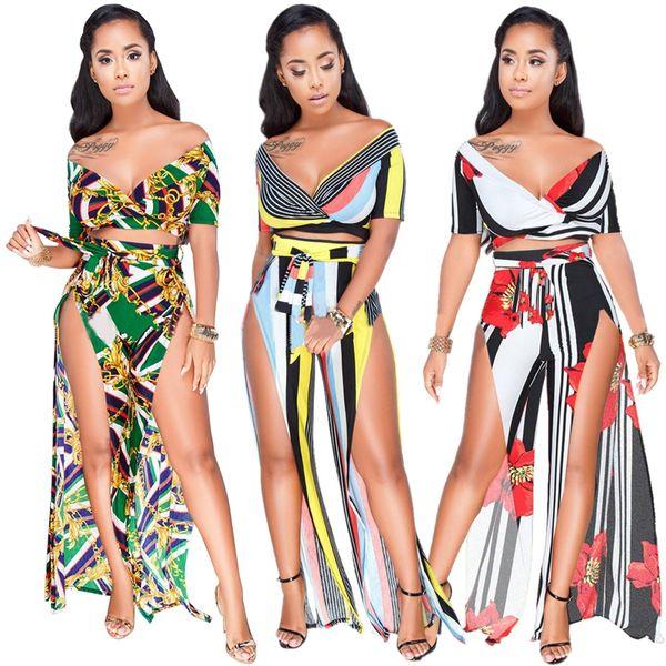 2018 новых женщин горячей Моды 2 шт. женщин набор цветочный принт глубокий V-образным вырезом с коротким рукавом длинные Сплит брюки Bodycon Сексуальная Boho пляжная одежда