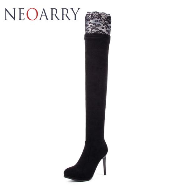 Neoarry Dantel Düğün Ayakkabı Kadın Yüksek Topuklu Düşük Platformu Uyluk Yüksek uzun Çizmeler Seksi Ince Diz Üzerinde Çizmeler Siyah Kırmızı T167