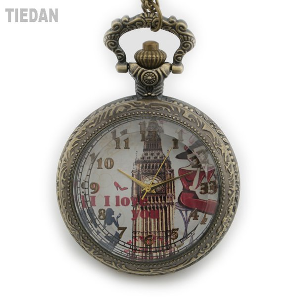 TIEDAN 2018 New Arrival Dropshipping Hollow Bronze Steampunk Antique Big Ben Dial Antique Pocket Watches with Chain Necklace