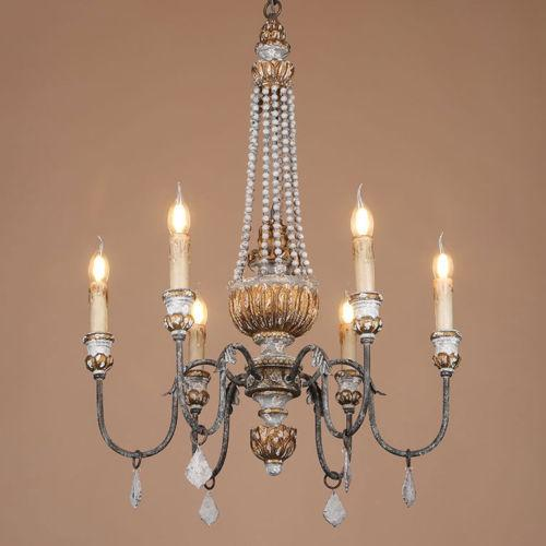 French Country Vintage Style 6-Light Chandelier Distressed Finish Wood and Metal