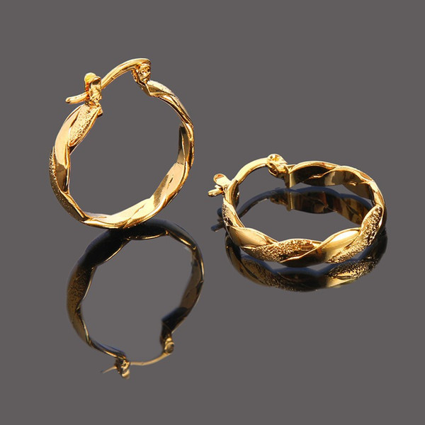 top popular 22K 23K 24K Thai Baht FINE YELLOW SOLID GOLD GP EARRINGS Hoop E India Jewelry Brincos Top Quality Wave 2021