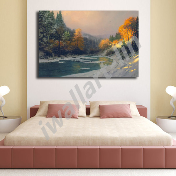 Thomas Kinkade Winter Light Poster Canvas Painting Oil Framed Wall Art Print Pictures For Living Room Home Decoracion