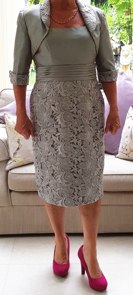 Free Jacket Mother of the Bride Dress Half Sleeve Silver Gray Lace Taffeta Knee Length Formal Mom Suits Wedding Guest Gowns
