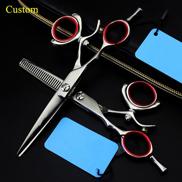 Custom professional Left handed 6 inch rotation hair scissors thinning makas haircut shears cutting barber hairdressing scissors