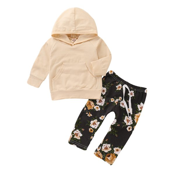 Mikrdoo Toddler Baby Boys Girls Autumn Style Hooded Clothes Set Long Sleeve Top with Pocket Floral Pant 2PCS Outfit