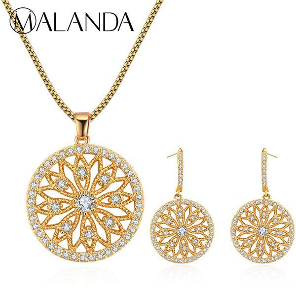MALANDA Brand New Luxury White Zircon Round Pendants Necklaces Drop Dangle Earrings Set For Women Fashion Wedding Jewelry Sets
