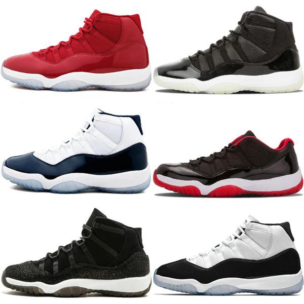 Nova chegada 11 baile de basquete da noite de baile sapatos ganhar como 82 96 midnight marinha unc ginásio vermelho 11s Concord Bred Designer Dress Trainers Sneakers Esporte