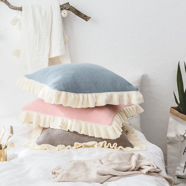 Cuscino decorativo in cotone tridimensionale solido semplice pizzo Cuscino per neonati Cuscini decorativi morbidi Cuscino coprisedile