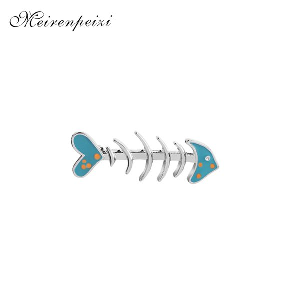 Fishbone Krawattennadeln Abzeichen blau Cartoon Dekoration Pins Emaille Skeleton Fisch Broschen für Frauen Katze Liebe Fisch Pin Button Mädchen