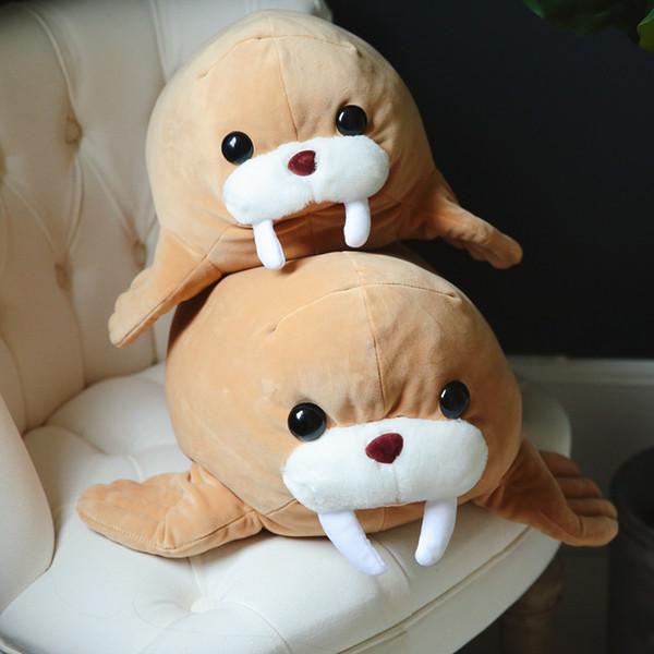 Babiqu 1pc 45/55cm Kawaii Walrus Plush Pillow Lying Animal Sea Lion Doll Simulation Morse Toys Stuffed Baby Kids Birthday Gift